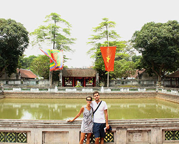 Standing at Temple of Literature - Hanoi city tour